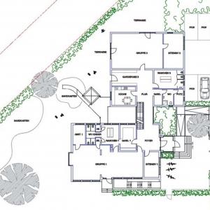 Entwurf Umbau des Altbaus und Anbau an einen Kindergarten